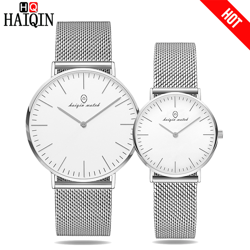 HAIQIN Couple Watch Ultra-thin 6MM Silver Mesh Belt Watches Mens watch luxury Women Dress watch Romantic Gift Relogio MasculinoHAIQIN Couple Watch Ultra-thin 6MM Silver Mesh Belt Watches Mens watch luxury Women Dress watch Romantic Gift Relogio Masculino