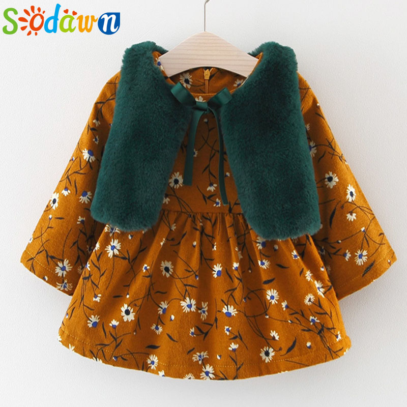 Sodawn 2017 Childrens Clothing 2017 Autumn Winter New Girl Plush Vest Floral Dress Suit Baby Girls Clothes Princess Dress