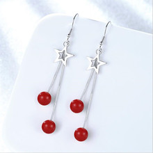 Everoyal Vintage Lady Crystal Red Drop Earrings For Women Jewelry Fashion 925 Silver Earring Female Star Tassel Accessories
