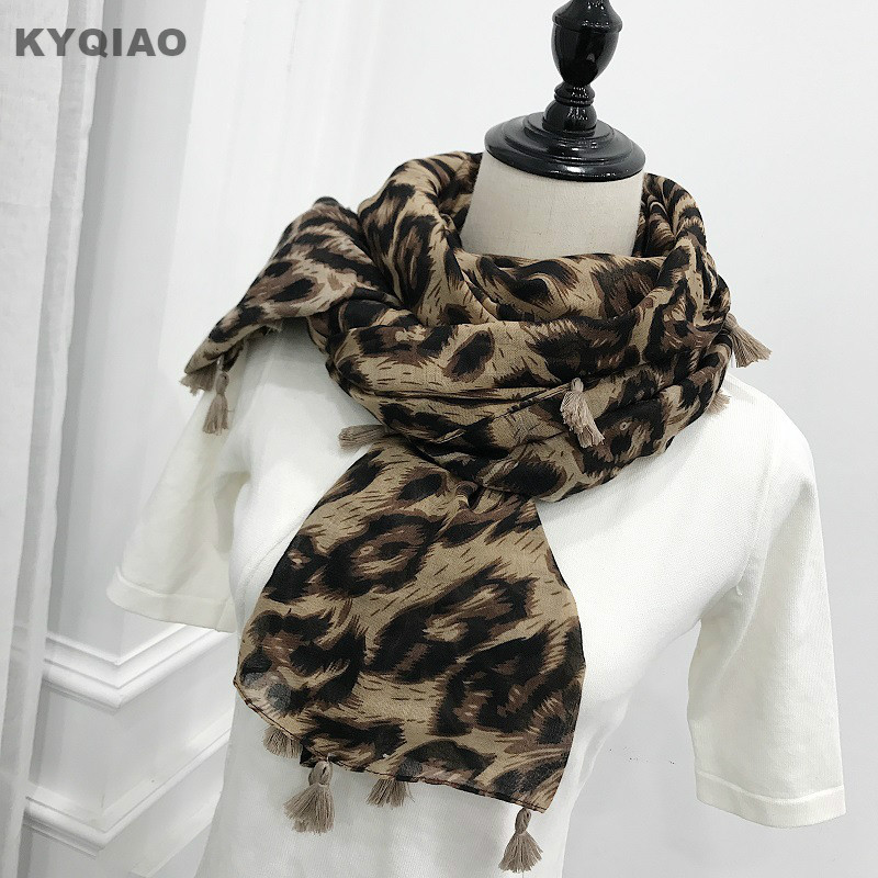 KYQIAO WOMEN SCARF female autumn spring Spain style long fashion designer leopard print scarves cape birthday gifts