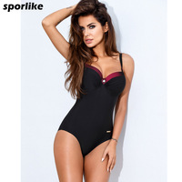 2017 One Piece Swimsuit Plus Size Swimwear Women Push Up Swimwear Patchwork Vintage Retro Bathing Suit