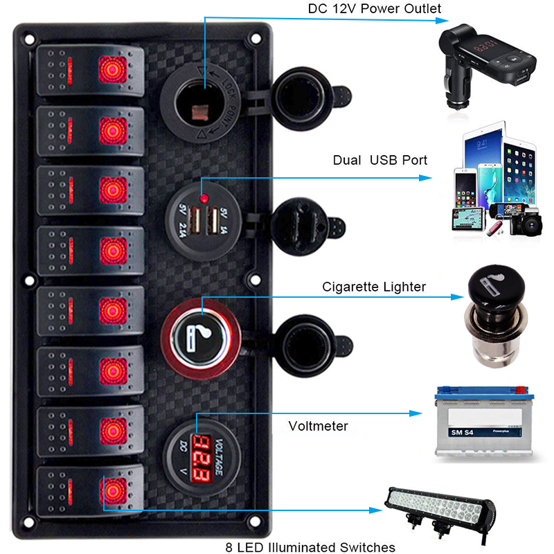 LED Switch Panel 12V 24V for Car Boat Truck Marine Circuit Breaker Dual USB Charging Ports 3.1A Power Socket Digital VoltmeterLED Switch Panel 12V 24V for Car Boat Truck Marine Circuit Breaker Dual USB Charging Ports 3.1A Power Socket Digital Voltmeter