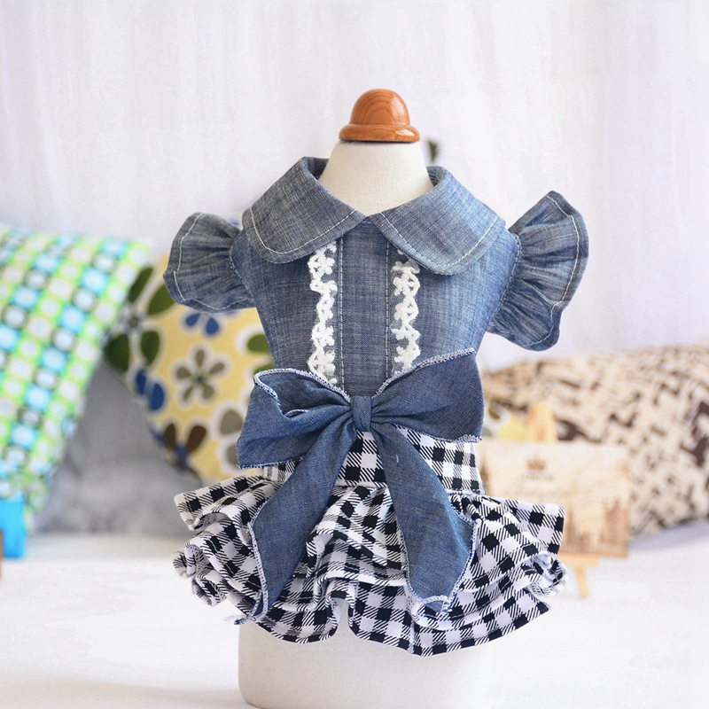 Spring Pet Dog Clothes Dog Denim Dress Jeans Skirt Small Dog Dress Puppy Clothes Chihuahua Yorkies Teddy Pet Clothing 5