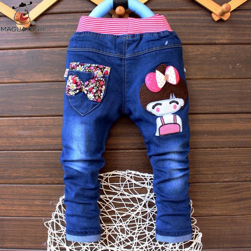 2017 Klassische Kinder Mädchen Jeans Elastische Taille Gerade Mickey Muster Denim Hosen Einzelhandel Jungen Jeans Für 2-5 Jahre Dk16
