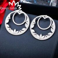 Queen Lotus Luxury Temperament Hollow Double Lap Earrings 925 Silver Needle After Hanging Zircon Stud Earrings For Women