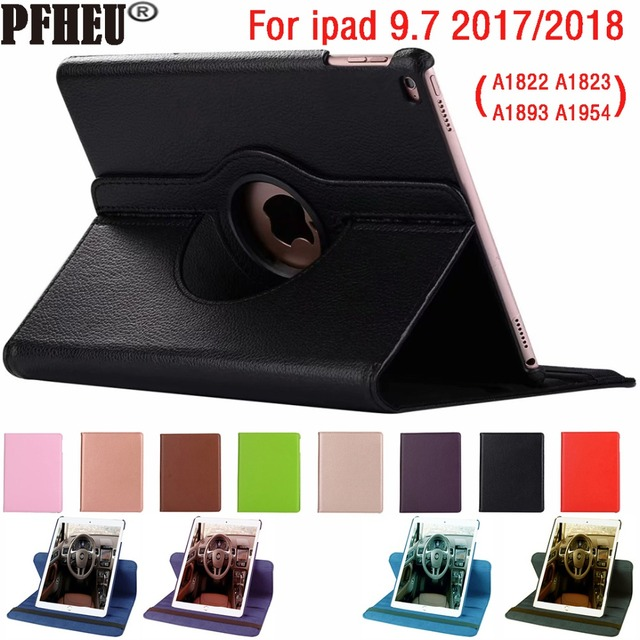 360 Degree Rotating Leather Smart Cover Case for Apple iPad 9.7 2018 2017 A1822 A1823 A1893 A1954 5th 6th 5 6 Generation Funda