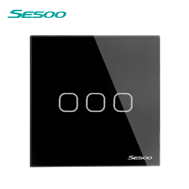 EU/UK Standard SESOO Touch Switch 3 Gang 1 Way,Wall Light Touch Screen Switch,Crystal Glass Switch Panel, Lamp Touch Switch eu uk standard sesoo touch switch 1 gang 1 way wall light touch screen switch crystal glass switch panel remote control switch