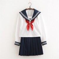 Chegada nova Japonês Conjuntos de JK Escola Meninas Uniforme Escolar Sakura Embroideried Alta Outono Mulheres Novidade Ternos Uniformes de Marinheiro XXL
