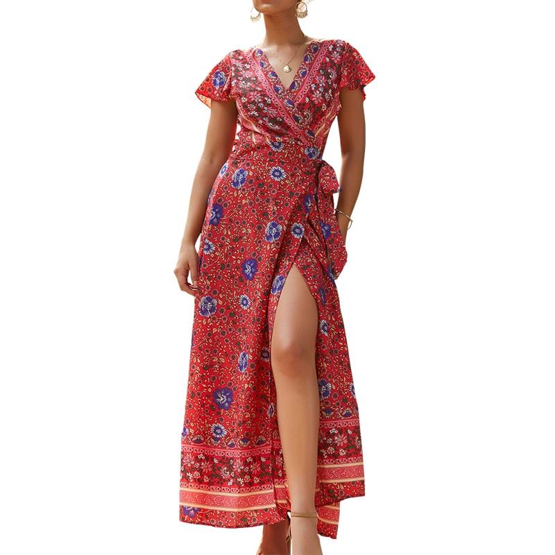 f86baa7365493dc Инди народное женское летнее платье для отдыха пляжный Сарафан Макси Boho с  v-образным вырезом