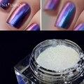 1 caja de Uñas Camaleón Glitter Powder Polvo Multichrome Cromo Pigmento Shimmer Galaxy Glitter Powder Decoración de Uñas 3 ml