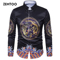 Zemtoo Men Shirts Cotton 2017 Luxury Brand Spring Autumn Men Casual Shirt Long Sleeve Male Shirts
