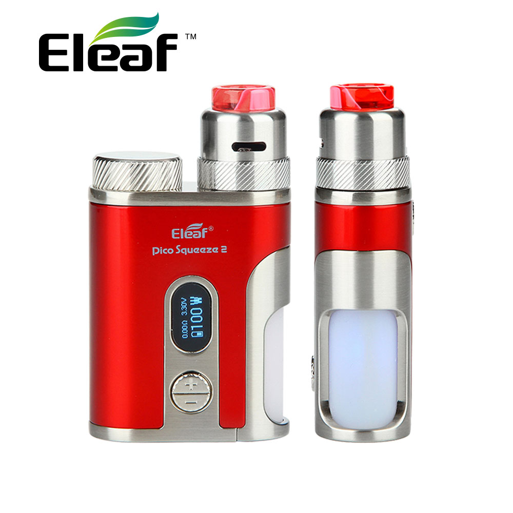 Original Eleaf IStick Pico Squeeze 2 Kit with Coral 2 RDA & 8ml Squonk Bottle Bottom Ventilation Holes Max 100W Output Squeeze 2 original eleaf istick pico squeeze 2 kit 4000mah battery with coral 2 rda