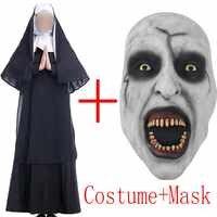 2018 Movie The Nun Costume Maschera Cosplay Adulto Lungo Nero Spaventoso Suore Vestiti Fantasma Uniforme di Orrore di Halloween Costume Party Props