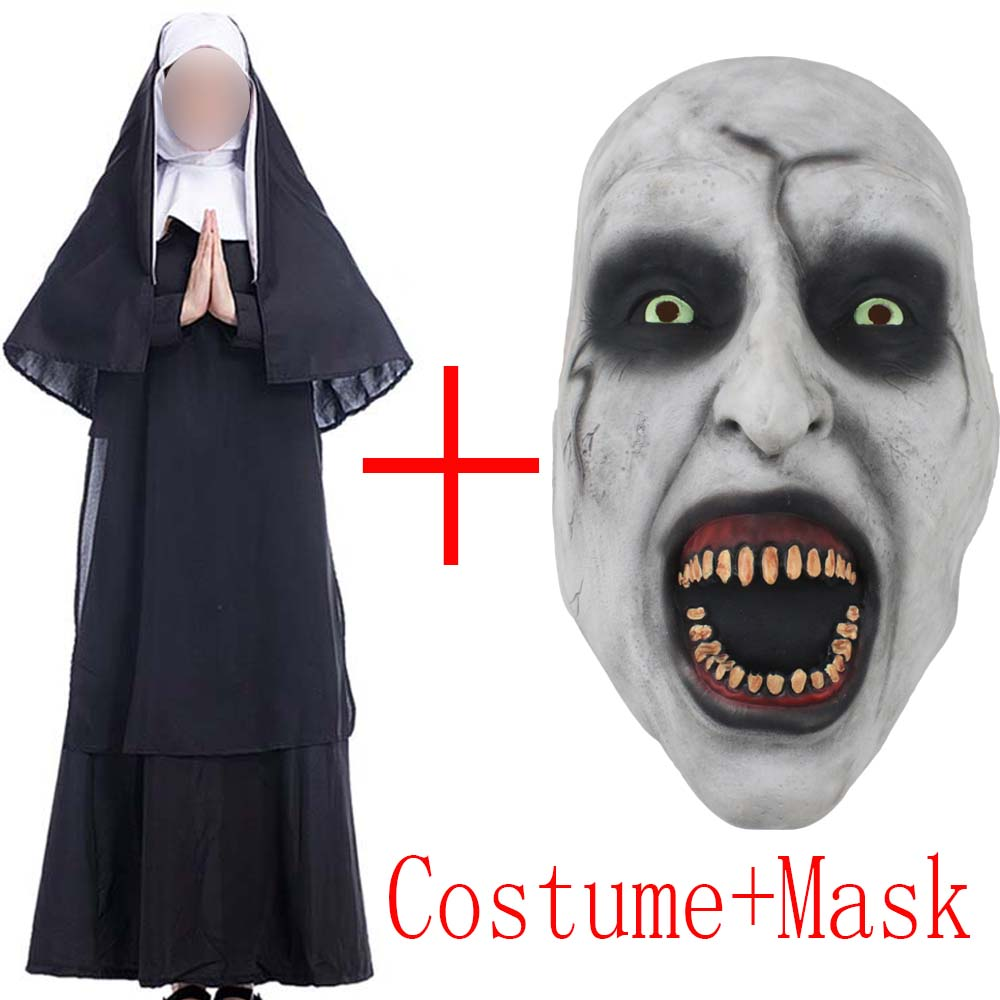 2018 Movie The Nun Costume Mask Cosplay Adult Long Black Scary Nuns Ghost Clothes Uniform Horror Halloween Party Costume Props