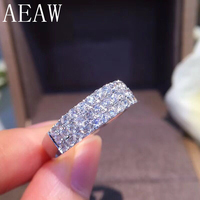 Silver 925 1.2CTW Carat F Color Lab Grown Diamond Round Cut Moissanite Engagement Wedding Band For Women