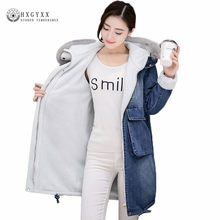 Plus Size Puffer Jacket Woman Long Denim Parka Female Slim Hooded Faux Fur Collar Jeans Outwear Wool Liner Winter Coats Oke106(China)
