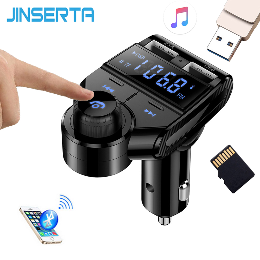 JINSERTA FM Transmitter Wireless Bluetooth V4.2 FM Modulator Handsfree Car Kit LCD TF USB Audio Car MP3 Player 3.5mm AUX Adatper
