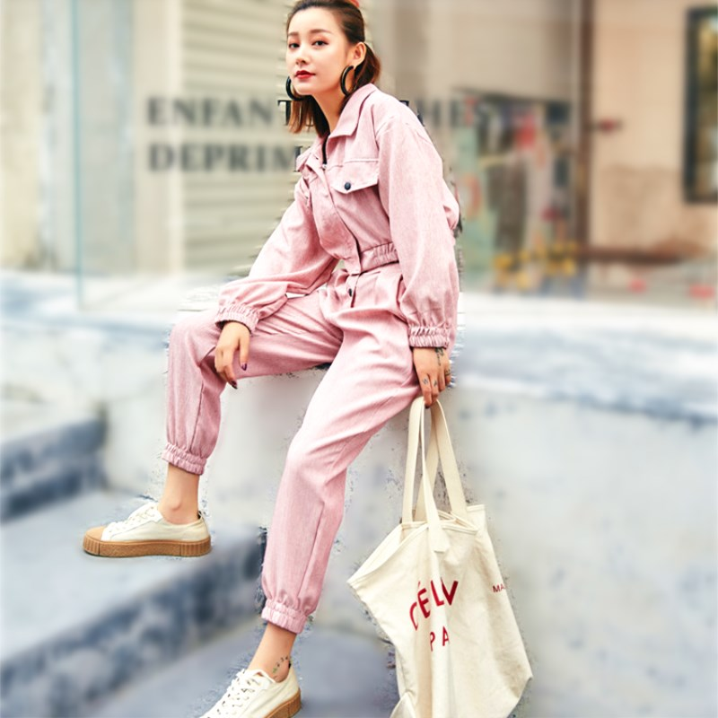 03430f398b9b New 2019 Spring Two Piece Sets Clothes Women Casual Short Pink Coat Jacket  Tops And Pants Suits Woman 2 Pcs Set Feminino YH036