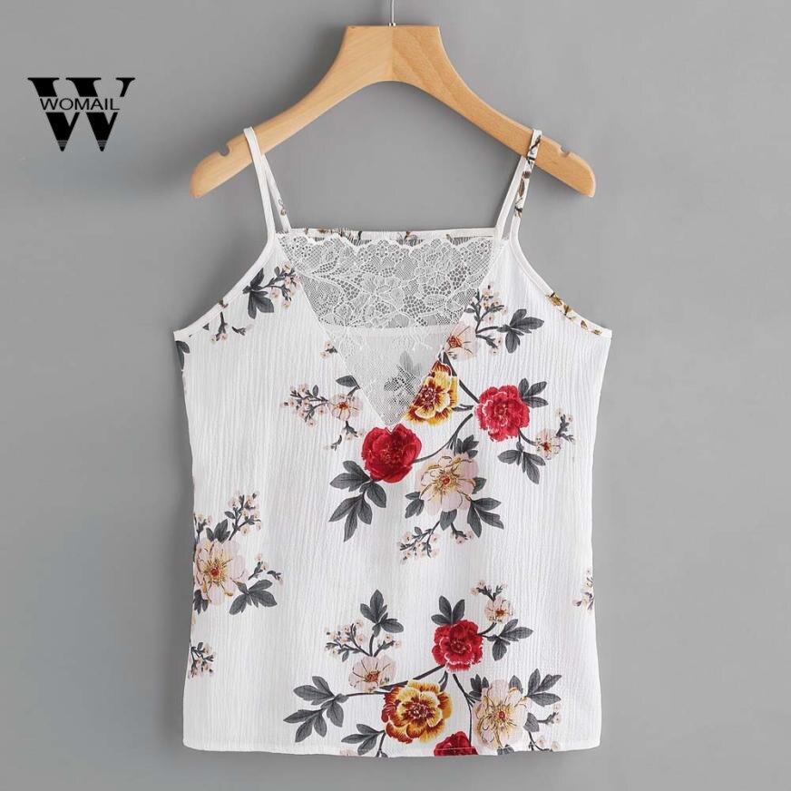 2018 New Fashion Women Summer Chiffon Floral Casual Sleeveless Top Vest Tank Shirt Blouse Cami Top Summer Mar 27
