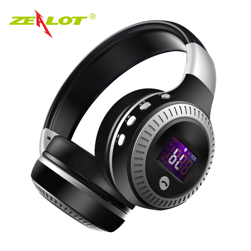 ZEALOT B19 Headphone LCD Display HiFi Bass Stereo Bluetooth Wireless Headset With Mic TF Card Slot Foldable Earphone Headphones wireless bluetooth headphones wireless headset bluetooth 4 1 hifi super bass stereo gaming headphone with mic