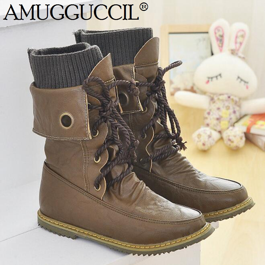 Wholesale!Plus Big Size 32-52 Black Green Yellow Lace Up Fashion Spring Autumn Girl Lady Females Women Flats Boots X543