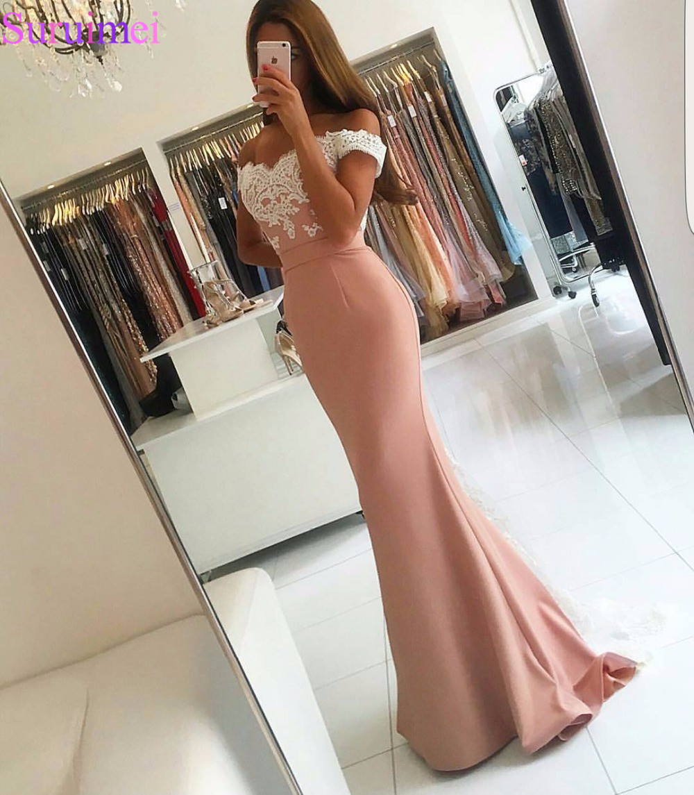 Blush Pink Evening Gown Mermaid Prom Dresses Appliques Lace Evening Dress Vestido De Festa