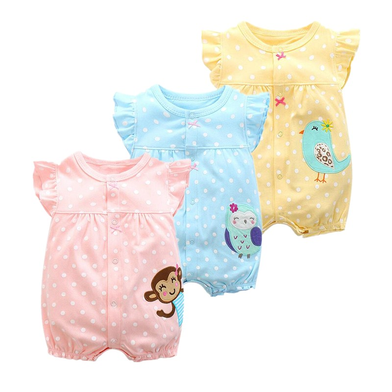 2018 בגדי תינוקת קיץ בגדים חד פעמיות בגדי תינוקות, כותנה קצר רומנטי התינוק בנים בגדים roupas menina