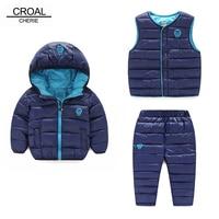 CROAL CHERIE 3pcs Baby Girls Clothes Sets Winter Jacket + Vest + Pants Kids Boys Clothes Sets Children Clothing 2018 Coat