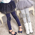 Crianças Leggings Meninas Saia-calça Bolo Saia 2016 Outono Laço Floral Impresso Crianças Saia Leggings Calças Magros das Crianças calças