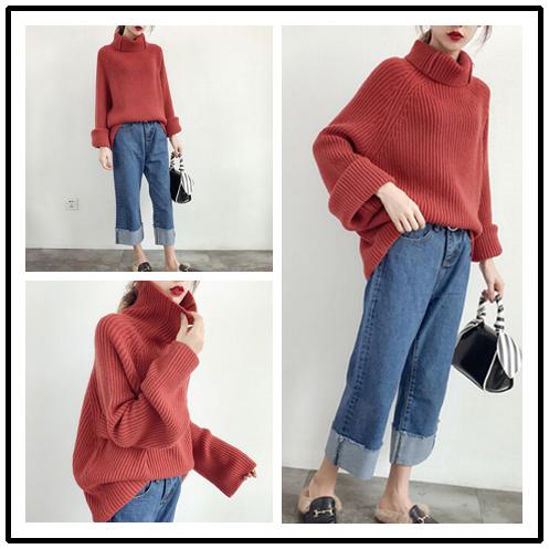 여자 두꺼운 니트 스웨터와 풀오버 캐시미어 블렌드 숙녀 가을과 겨울 대형 스웨터 핑크 화이트 옐로우 레드
