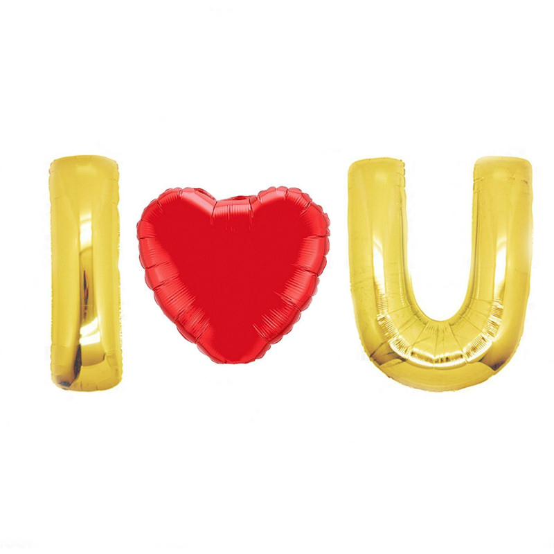 40 Inch Giant Jumbo Helium Foil Mylar Balloons Bouquet Premium  Glossy Gold Letters I U and 32 Red Heart (I Love You)