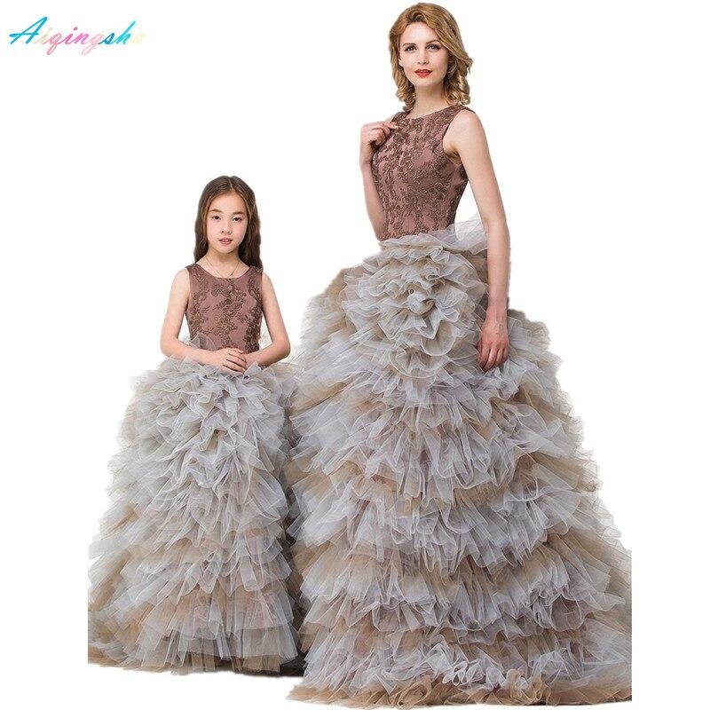 Mutter Tochter Brautkleider Frauen Baby Abendkleid Familie Kleidung Kinder Ballkleid Leistung Formal Wear Mädchen Rock