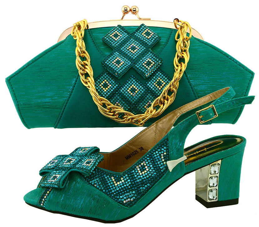 ФОТО Hot Selling Nigeria Style Woman Shoes And Bag Set New Fashion Middle Heels Shoes And Bag Set For Party Size 38-43 Teal MM1025