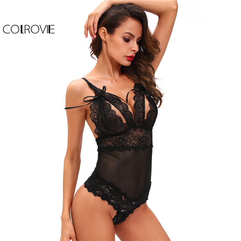 COLROVIE Sexy Lace Bodysuit Black Spaghetti Strap Backless Slim Cut Out Jumpsuit For Women 2017 New Summer Vintage Bow Bodysuit