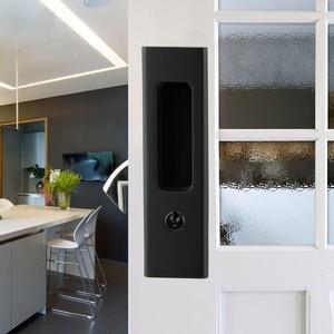 Image 2 - Nero In Lega di Zinco Porta di Legno Maniglia Serratura Con Le Chiavi Per Interno Scorrevole Barn Door hardware
