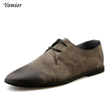 Yomior Новый Мужская обувь в британском стиле Бизнес повседневные мужские модные Кружева до дышащая кожа коровы офисные Свадебные лоферы