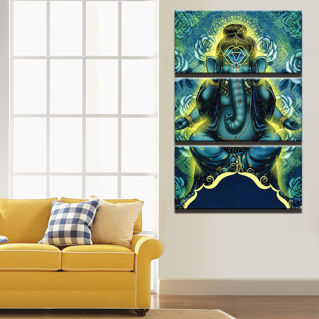 Wall Painting For Living Room India Modern Contemporary Furniture Set Canvas Art Pictures Decorative Frame 3 Pieces Ganesh Hd Printed Elephant Trunk God Poster