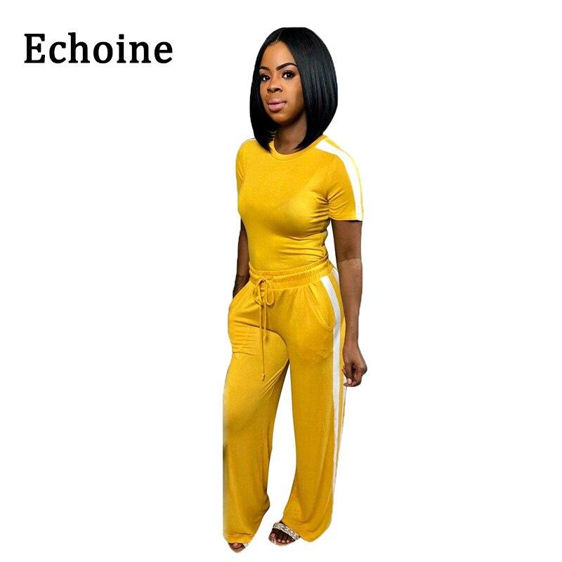 Echoine Women Tracksuits 2 Piece Set O-neck Striped T-shirt +Long Pants Drawstring Casual Sportswear Short Sleeve Set 5 Color