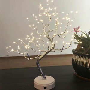 Image 1 - LED עץ אור שולחן מנורות 108 נורות לילה אור לחדר שינה חתונה מסיבת חג המולד קישוט USB & סוללה נחושת חוט אורות