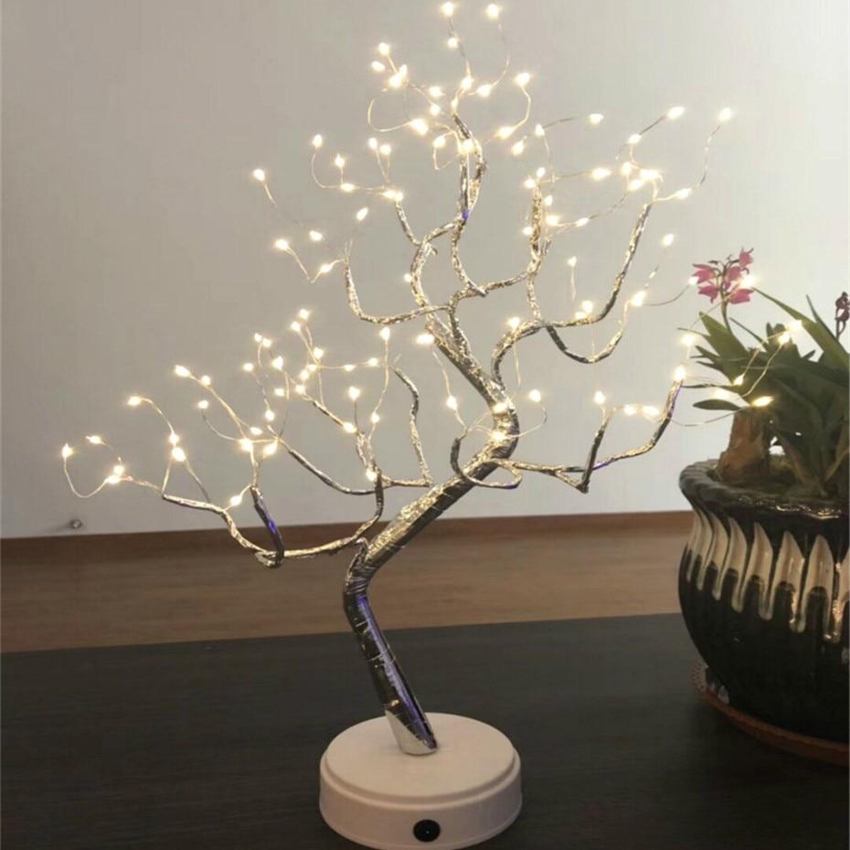 LED Light Tree ตารางโคมไฟ 108 หลอดไฟกลางคืนสำหรับห้องนอนงานแต่งงานตกแต่งคริสต์มาส USB และแบตเตอรี่ทองแ...
