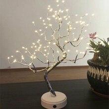 LED Light Tree ตารางโคมไฟ 108 หลอดไฟกลางคืนสำหรับห้องนอนงานแต่งงานตกแต่งคริสต์มาส USB และแบตเตอรี่ทองแดงลวดไฟ