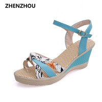2016 Summer Style Women Sandals Wedge Female Sandals High Platform Wedges Platform Open Toe Platform Casual