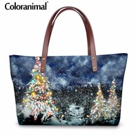 Coloranimal Merry Christmas Lady Tote Bag 3D Cute Christmas Tree Print Women Big Top handle Female Handbag Shopper Bag Best Gift