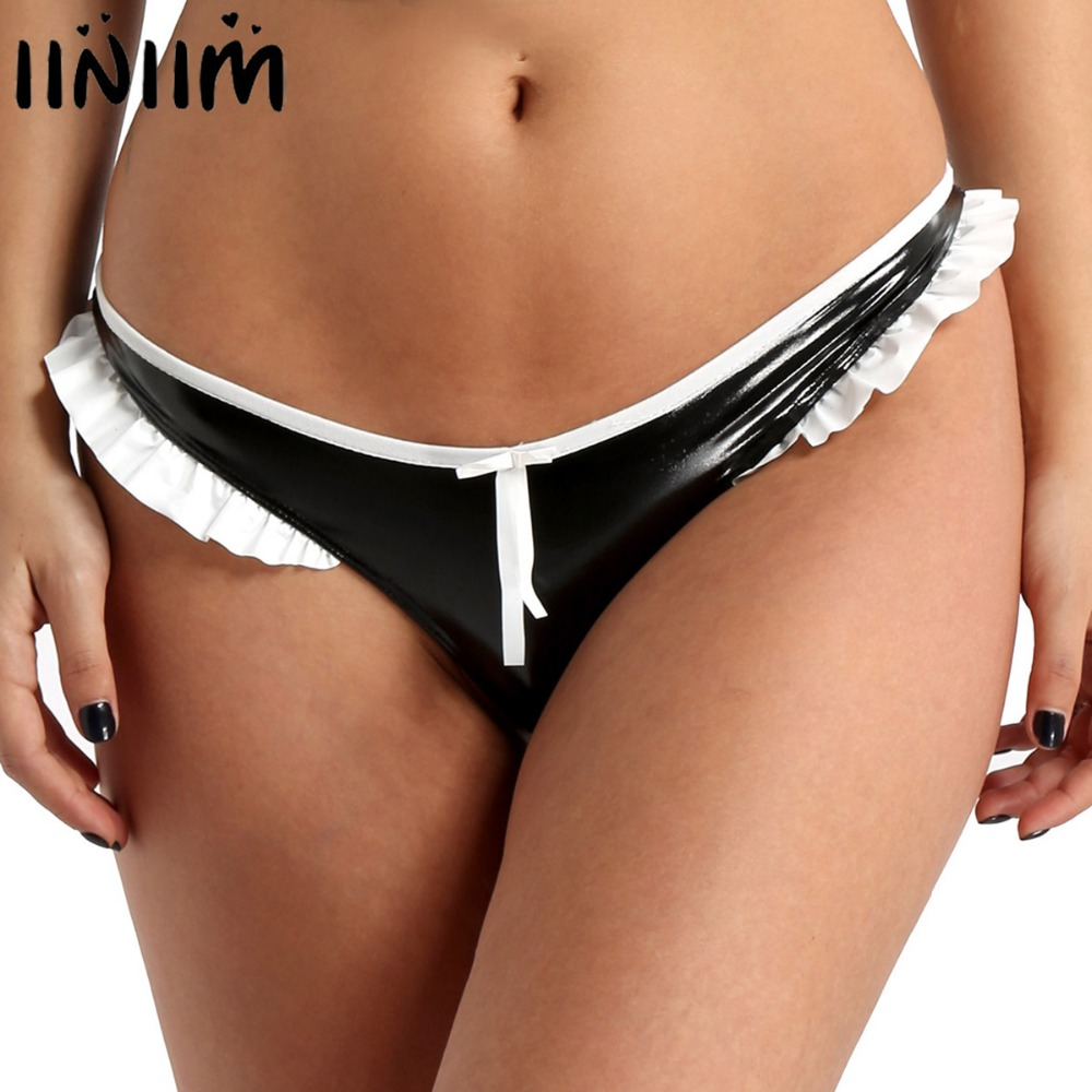 iiniim Womens Lingerie   Panties   Punk Sexy Female Underpants Wet Look Faux Leather Ruffled Lace Low Rise Bikini Briefs Underwear