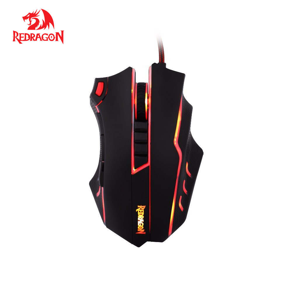 Redragon M802 Laser Gaming Mouse High-Precision 24000 DPI 10 Programmable Buttons Gamer Mouse Ergonomic design for Mice gamer 6 programmable buttons cougar gaming mouse 500m laser ergonomic optical game mice 4000dpi on board memory