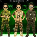 Hot 2017 Spring Fall Children Camouflage Clothing 3 Pcs Boys Sports Track Suit Kids Hooded Coat Tops Pants Military Uniform G104
