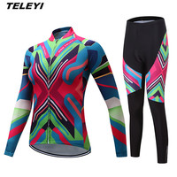 TELEYI 2017 MTB Bike jersey Bib Pants Set Women Cycling clothing Suit Ropa Ciclismo trouser Riding Long Sleeve T shirts Green
