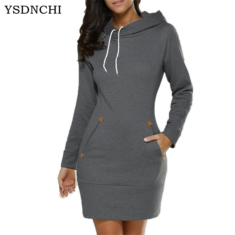 Women's Clothing Ysdnchi Fashion Hooded Drawstring Fleeces Women Dresses Autumn Winter Warm Dress Women Mini Vestidos Hoodies Sweatshirt Dress