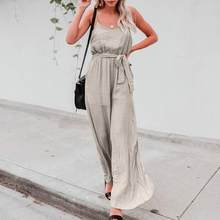 2018 HOT Women Autumn Sexy Backless Rompers Solid Long Camisole Elastic Waist Jumpsuit With Belt Gorgeous Beach Casual Mono Pant(China)