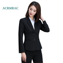 ACRMRAC Women's suits 2018 New Autumn And Winter Solid color Slim Single Breasted Blazers pants Business OL Formal Pants Suits